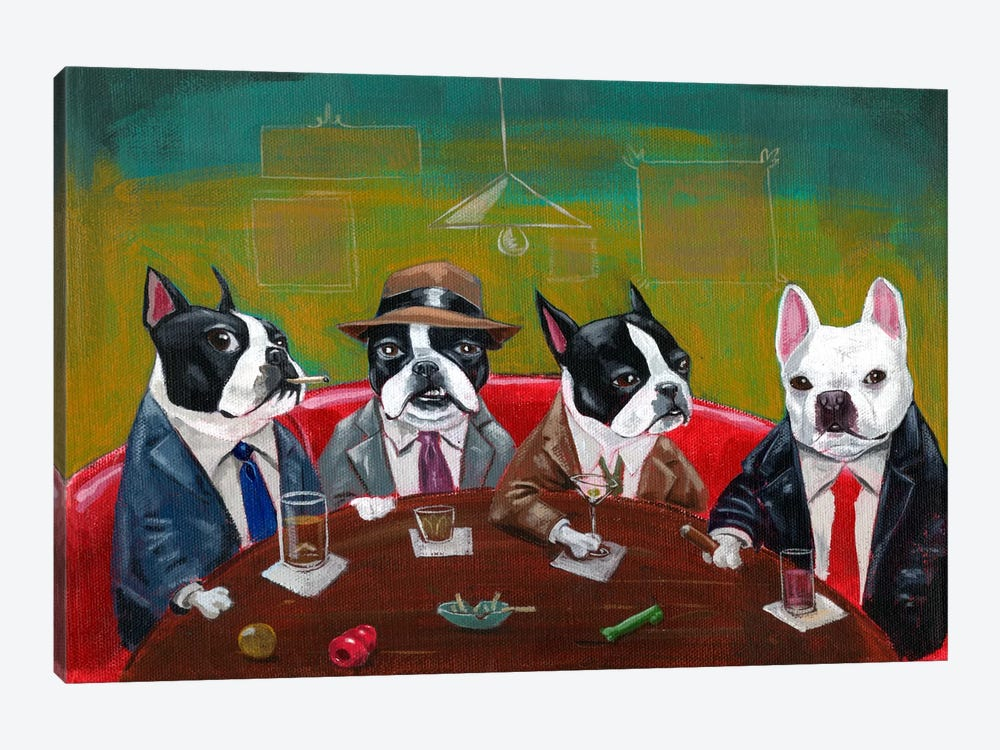 Three Boston Terriers And A French Bulldog by Brian Rubenacker 1-piece Canvas Art