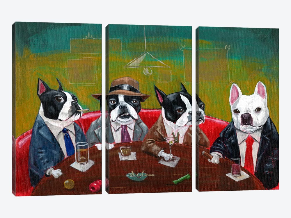 Three Boston Terriers And A French Bulldog 3-piece Canvas Artwork
