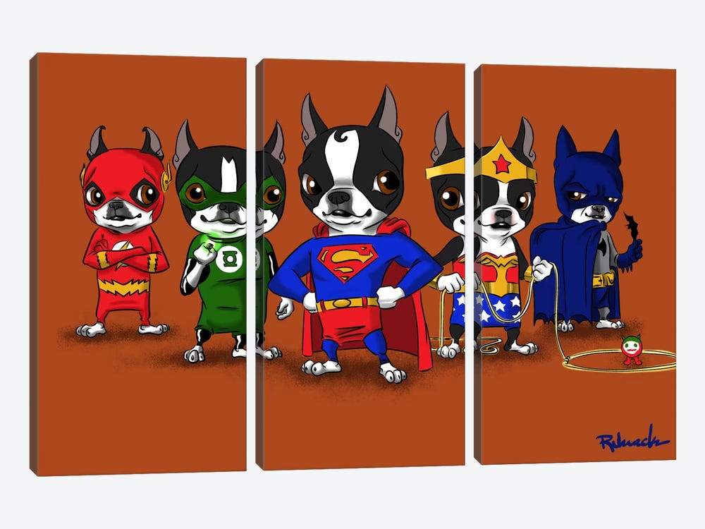 Justice League by Brian Rubenacker 3-piece Canvas Print