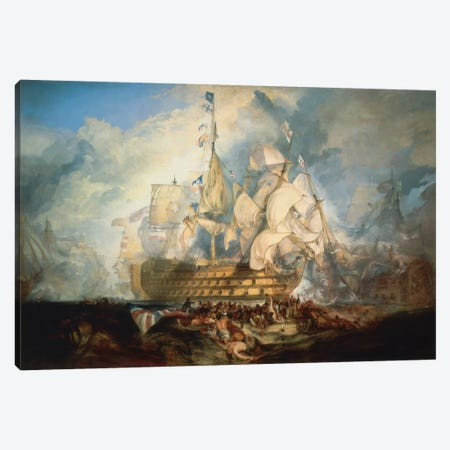 The Battle of Trafalgar 1822-1824 Canvas Print #1201} by J.M.W. Turner Canvas Wall Art