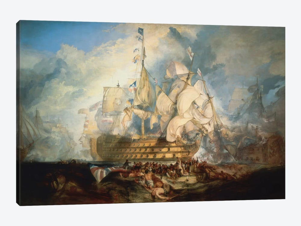 The Battle of Trafalgar 1822-1824 by J.M.W Turner 1-piece Canvas Artwork