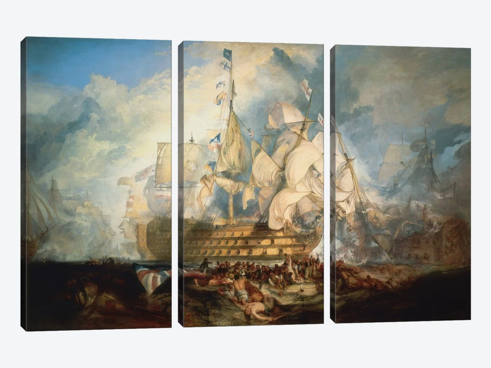The Battle of Trafalgar 1822-1824 by J.M.W Turner 3-piece Canvas Artwork