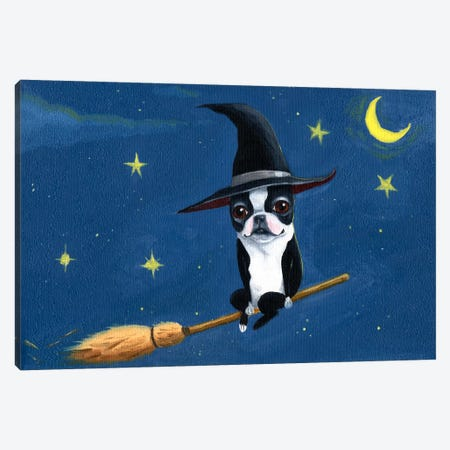 Witch On A Broom Canvas Print #12024} by Brian Rubenacker Canvas Artwork
