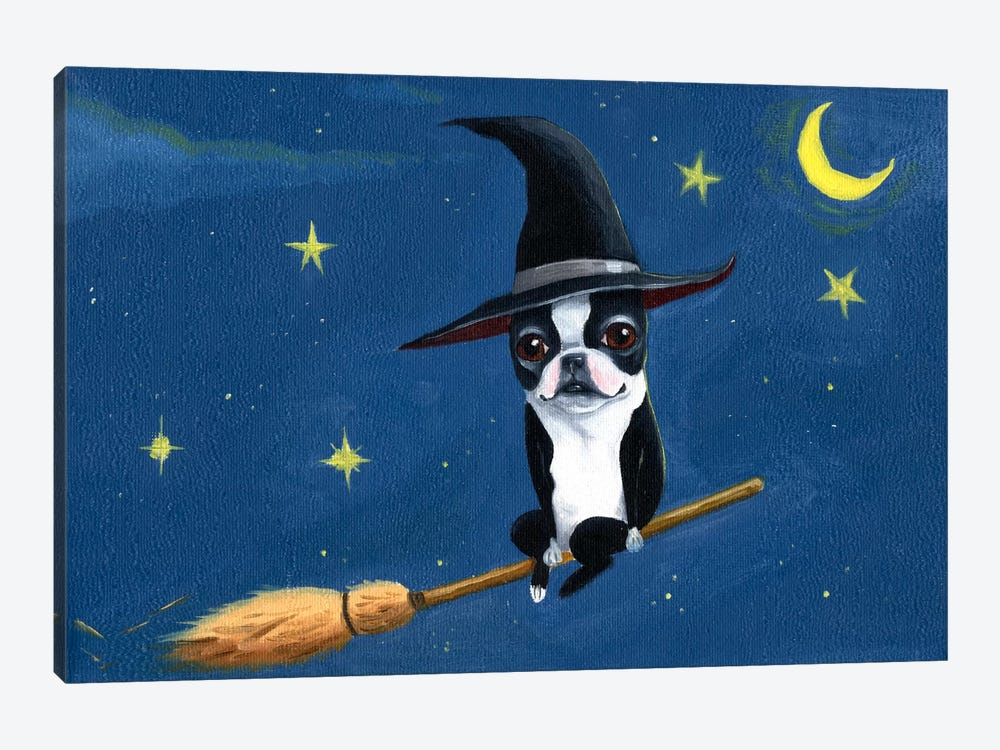 Witch On A Broom by Brian Rubenacker 1-piece Canvas Artwork