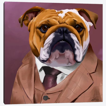 English Bulldog Dressed For A Night Out Canvas Print #12027} by Brian Rubenacker Canvas Artwork