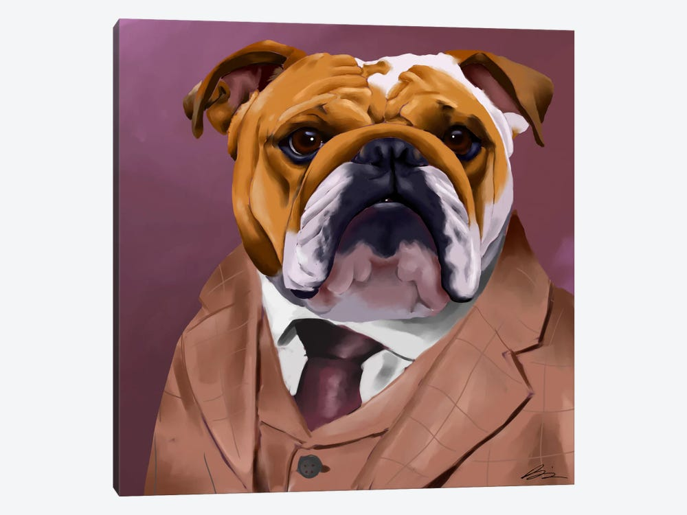 English Bulldog Dressed For A Night Out by Brian Rubenacker 1-piece Art Print