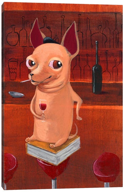 Chihuahua At The Bar Canvas Art Print