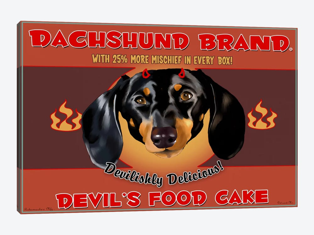 Dachshund Brand Devil's Food Cake by Brian Rubenacker 1-piece Art Print
