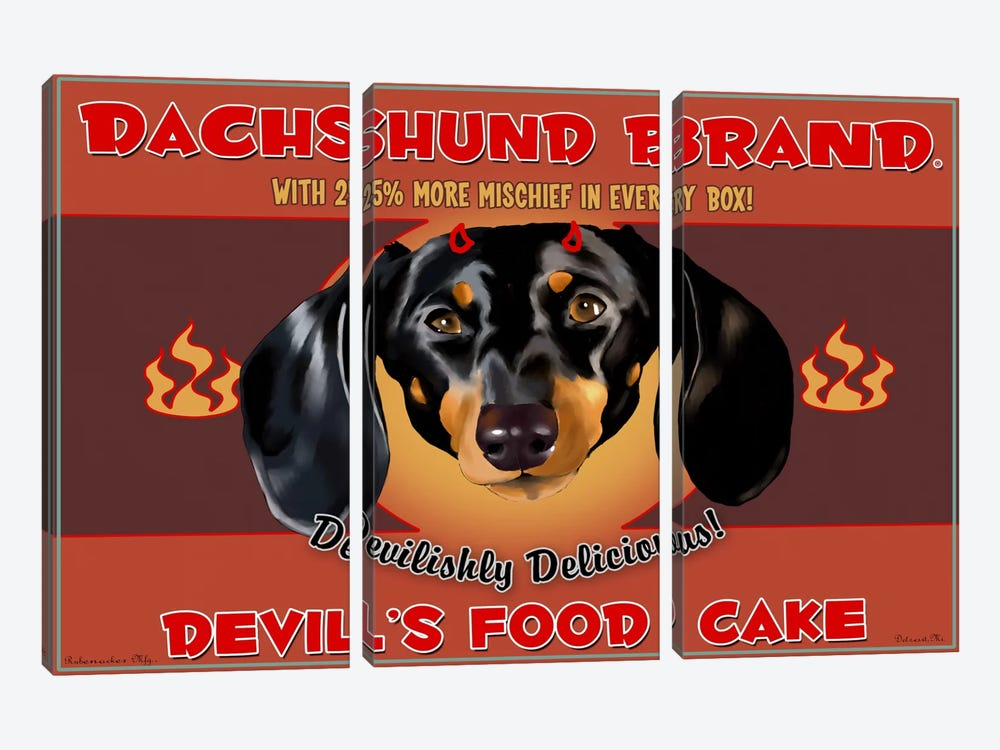 Dachshund Brand Devil's Food Cake by Brian Rubenacker 3-piece Canvas Print