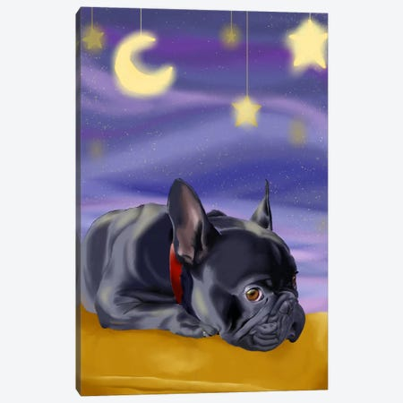 French Bulldog Ready To Go Off To Slumber Land Canvas Print #12035} by Brian Rubenacker Canvas Art Print