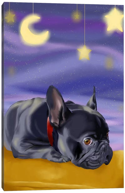 French Bulldog Ready To Go Off To Slumber Land Canvas Art Print
