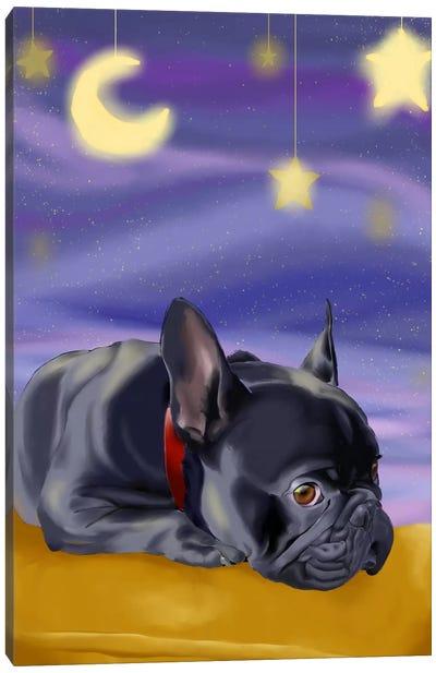 French Bulldog Ready To Go Off To Slumber Land Canvas Art Print