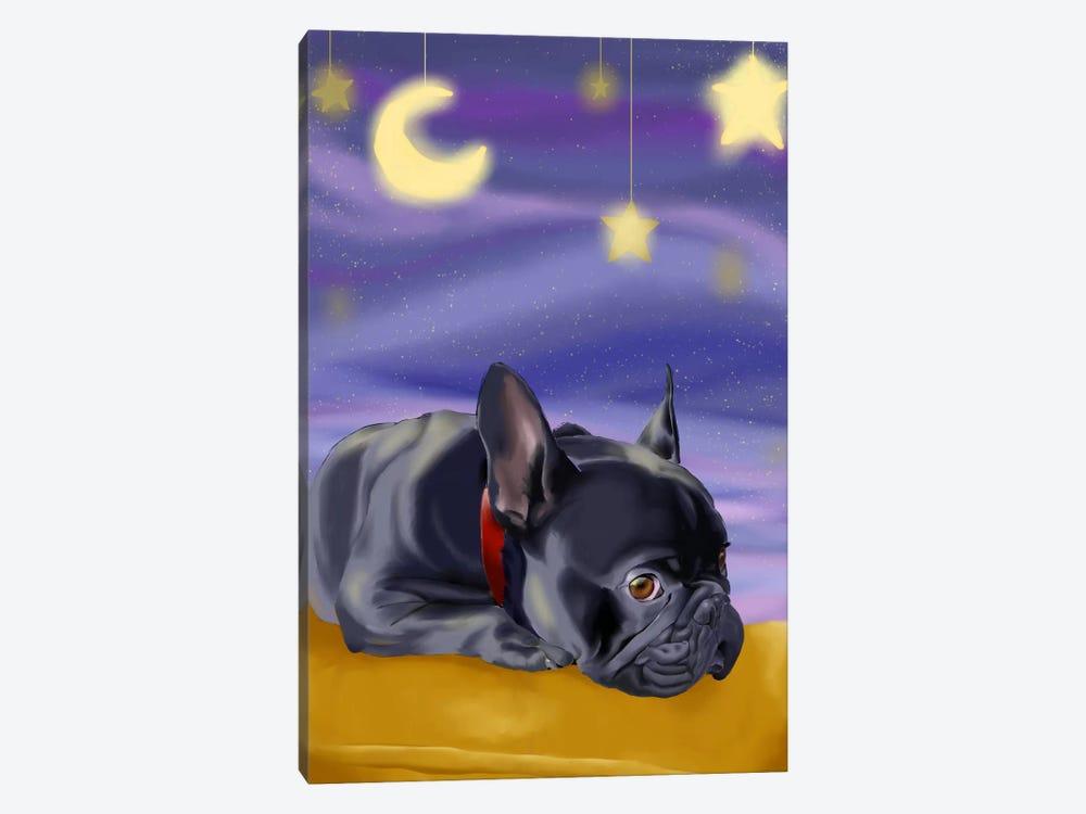French Bulldog Ready To Go Off To Slumber Land by Brian Rubenacker 1-piece Canvas Art