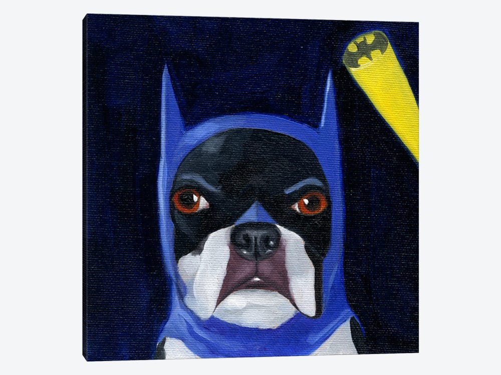 Boston Terriers Wearing Hats XVI (Batman) by Brian Rubenacker 1-piece Canvas Art