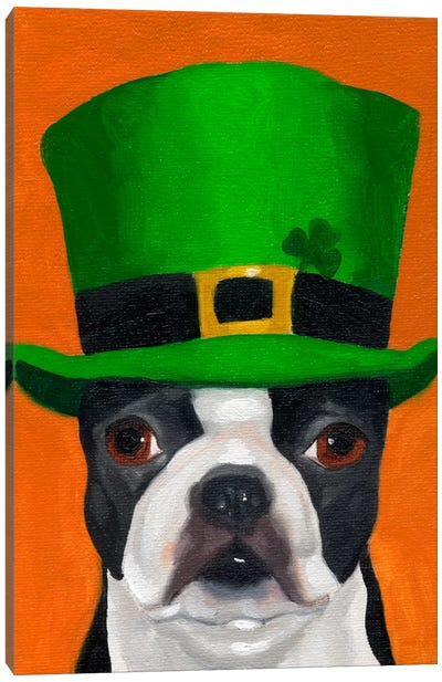 Boston Terriers Wearing Hats XXIV (St. Patty's Day) Canvas Art Print