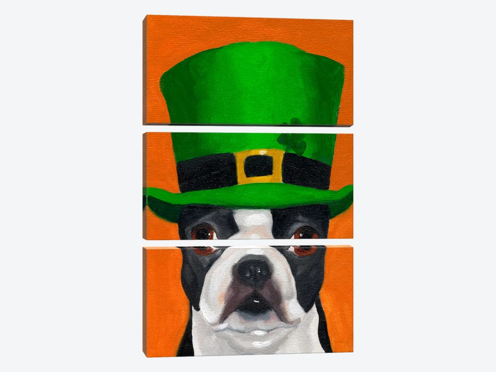 Boston Terriers Wearing Hats XXIV (St. Patty's Day) 3-piece Canvas Art Print