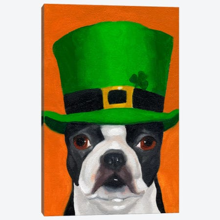 Boston Terriers Wearing Hats XXIV (St. Patty's Day) Canvas Print #12038} by Brian Rubenacker Canvas Art
