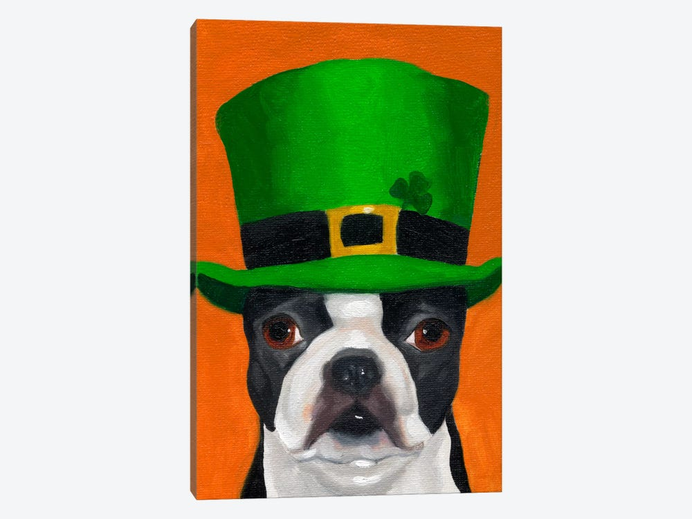 Boston Terriers Wearing Hats XXIV (St. Patty's Day) by Brian Rubenacker 1-piece Canvas Art Print