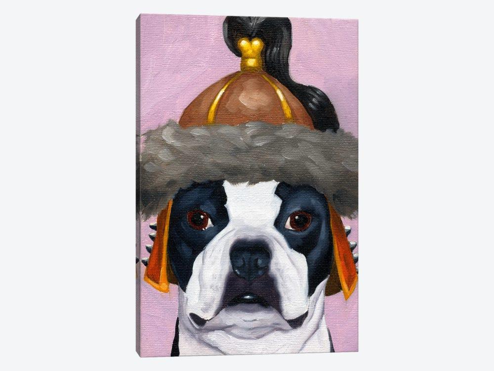 Boston Terriers Wearing Hats (Genghis Khan) by Brian Rubenacker 1-piece Canvas Wall Art