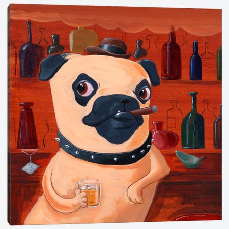 Pug At The Bar Canvas Print #12046} by Brian Rubenacker Canvas Art