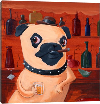 Pug At The Bar Canvas Art Print