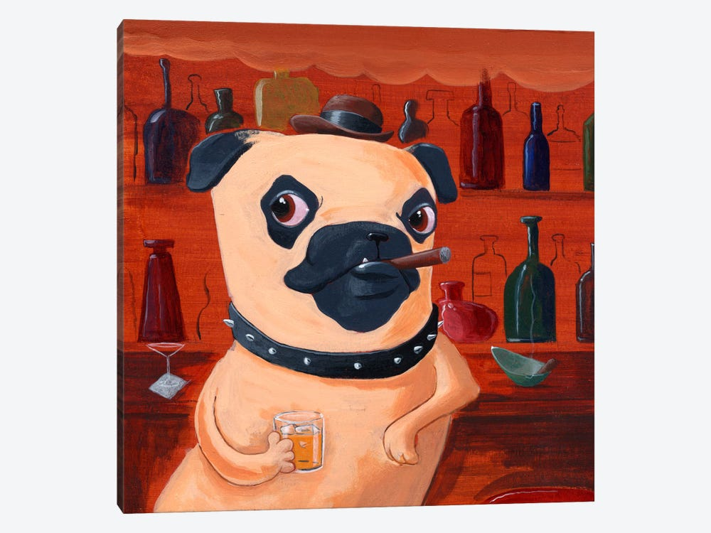 Pug At The Bar by Brian Rubenacker 1-piece Canvas Wall Art