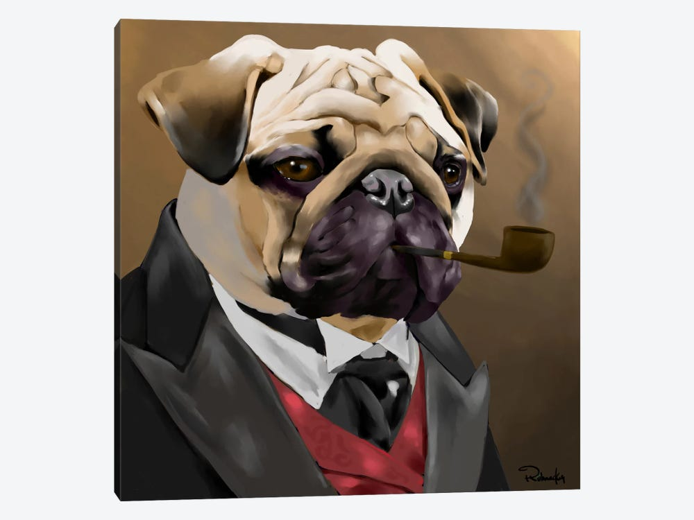 The Sophisticated Pug by Brian Rubenacker 1-piece Canvas Print