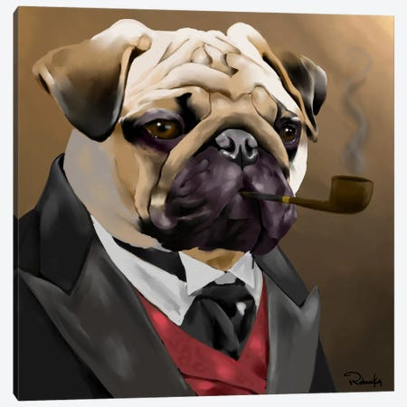 The Sophisticated Pug Canvas Print #12047} by Brian Rubenacker Canvas Artwork