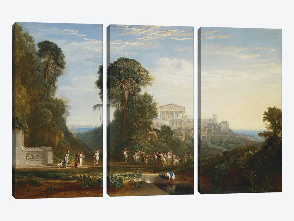 The Temple of Jupiter Panellenius by J.M.W. Turner 3-piece Canvas Art