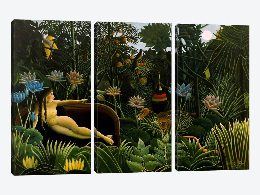 The Dream, 1910 by Henri Rousseau 3-piece Art Print