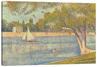 Banks of Seine (Seine at Grande Jatte) (Die Seine an der Grand JatteFrühling) by Georges Seurat Canvas Print