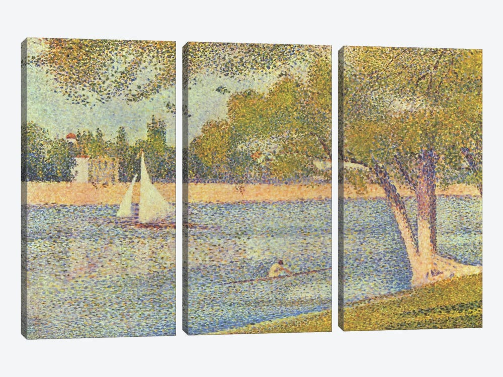 Banks of Seine (Seine at Grande Jatte) (Die Seine an der Grand JatteFrühling) by Georges Seurat 3-piece Art Print