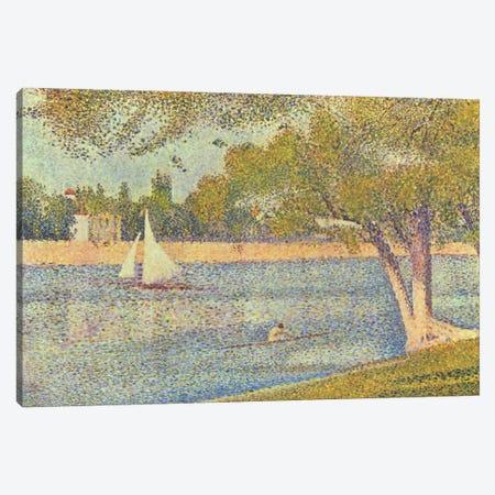 Banks of Seine (Seine at Grande Jatte) (Die Seine an der Grand JatteFrühling) Canvas Print #1224} by Georges Seurat Canvas Print