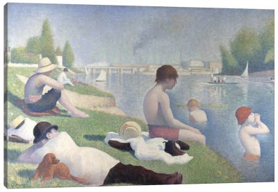 Bathers at Asnieres 1884 Canvas Art Print