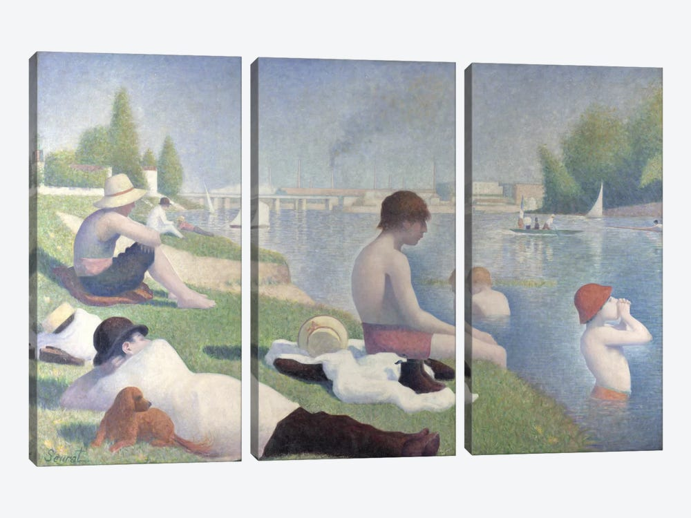 Bathers at Asnieres 1884 by Georges Seurat 3-piece Canvas Art
