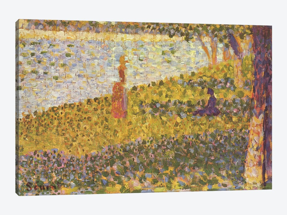 Women on the River Bank (Femmes au bord de l'eau) 1886 by Georges Seurat 1-piece Canvas Wall Art