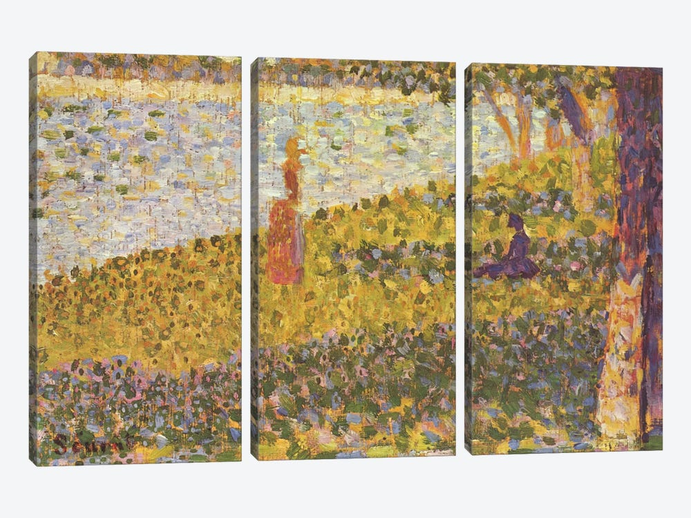 Women on the River Bank (Femmes au bord de l'eau) 1886 by Georges Seurat 3-piece Canvas Wall Art