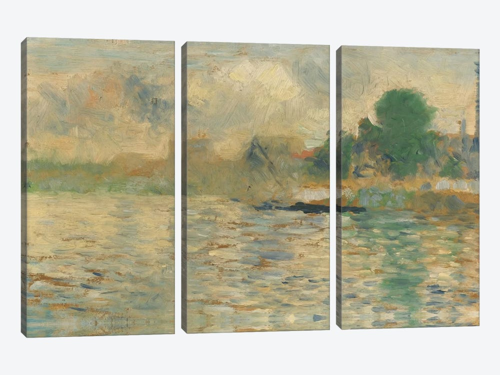 Berge De La Seine 1884 by Georges Seurat 3-piece Canvas Art