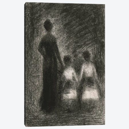 Femme Avec Deux Fillettes 1882-1884 3-Piece Canvas #1235} by Georges Seurat Canvas Art