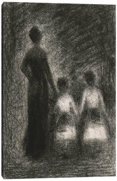 Femme Avec Deux Fillettes 1882-1884 Canvas Art Print