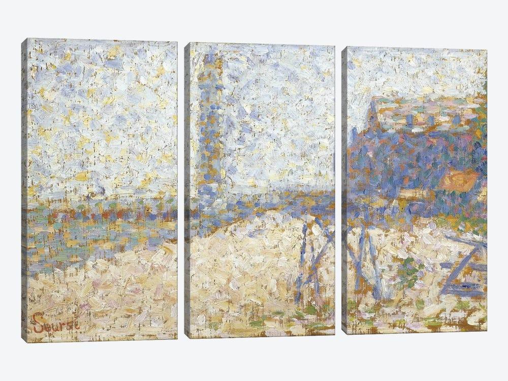 L'hospice Et Le Phare De Honfleur 1886 by Georges Seurat 3-piece Canvas Wall Art