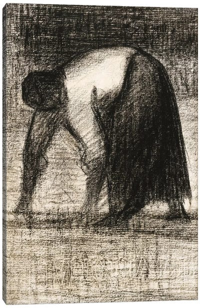 Paysanne Les Mains Au Sol 1882 by Georges Seurat Canvas Art Print