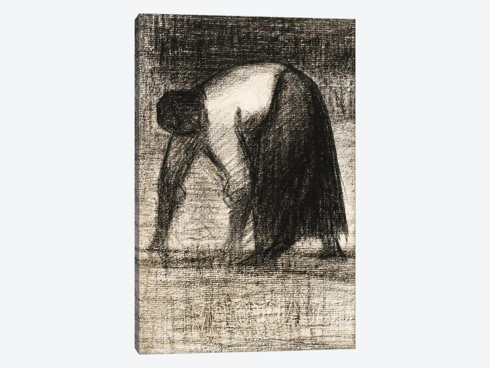 Paysanne Les Mains Au Sol 1882 by Georges Seurat 1-piece Canvas Wall Art
