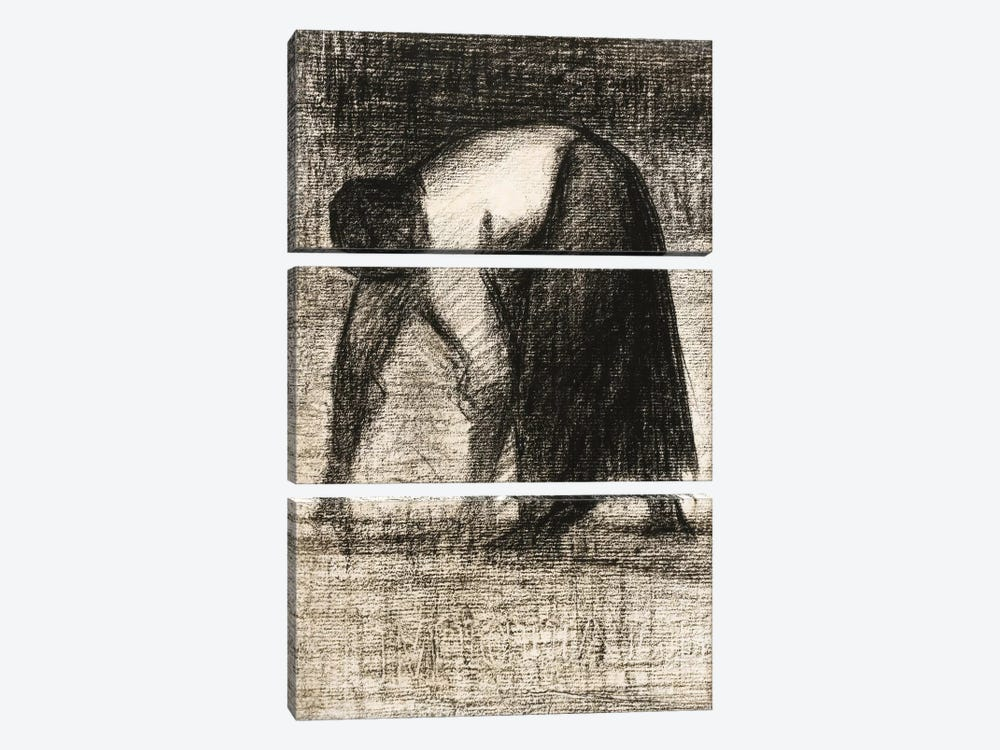 Paysanne Les Mains Au Sol 1882 by Georges Seurat 3-piece Canvas Art