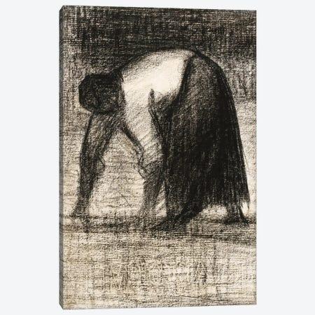 Paysanne Les Mains Au Sol 1882 Canvas Print #1238} by Georges Seurat Canvas Art Print