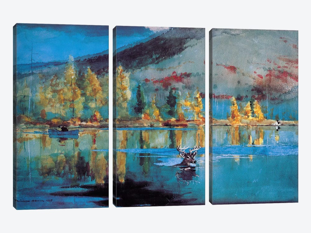 An October Day 1889 by Winslow Homer 3-piece Canvas Artwork