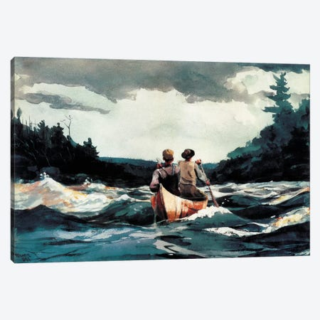 Canoe inthe Rapids 1897 Canvas Print #1242} by Winslow Homer Canvas Wall Art