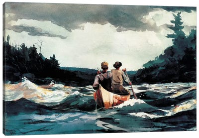 Canoe In The Rapids, 1897 Canvas Art Print