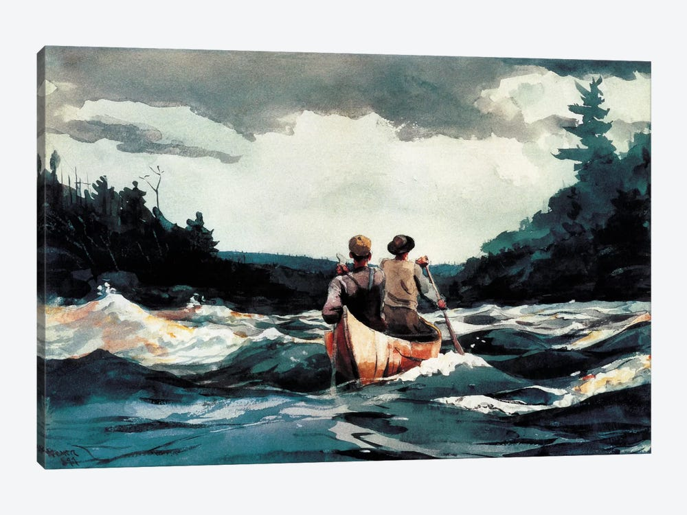 Canoe inthe Rapids 1897 by Winslow Homer 1-piece Art Print