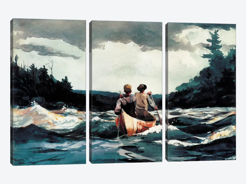 Canoe inthe Rapids 1897 by Winslow Homer 3-piece Canvas Art Print